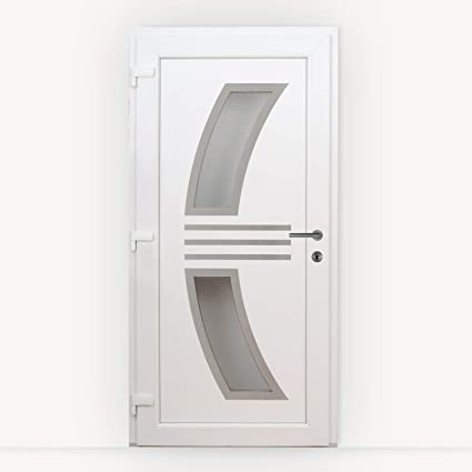 HORI/® Haust/ür Monaco I Kunststoff Haust/üre Eingangst/üren Aussent/ür mit Glaseinsatz I Farbe Monaco I 1980 x 980 mm Anthrazit I DIN Rechts I Modell