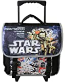 Cartable à roulettes noir motifs Starwars pour enfants en CE1/CE2