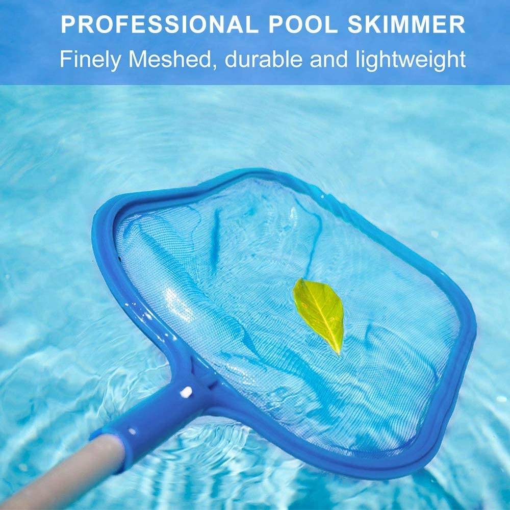 Beenle-Icey Swimming Pool Skimmer Net kit leaf skimmer kit Fine Mesh Net With Pole Parts Vacuum Storage For Cleaning Pool Leaves And ALL Debris