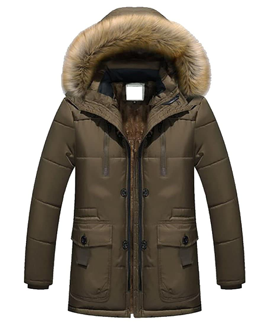 Spirio Mens Outerwear Faux-Fur Lined Hood Thicken Quilted Down Coats Jacket