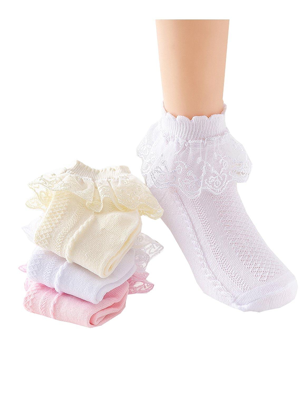 3 Pack Baby Girls Cotton Socks Princess Lace Top Dressy Socks 1y-10y