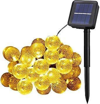 Guirnalda de luces solares, 50 bolas de cristal LED, impermeable, luces LED de hadas, gran jardín, terraza, patio, luces exteriores para el hogar, jardín, fiesta, festival: Amazon.es: Iluminación