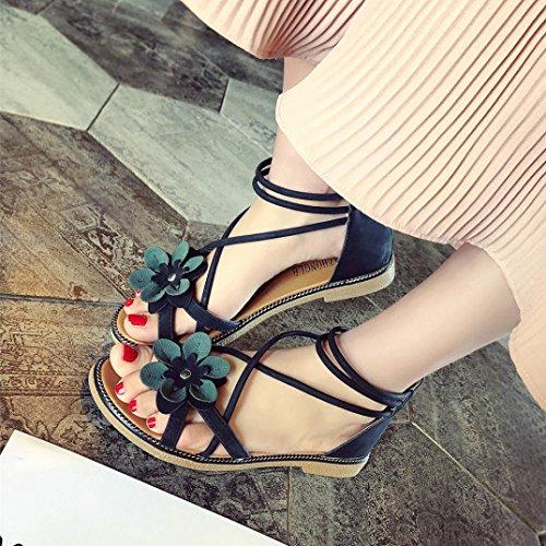 Tacon Playa Baratas Bajo Sandalias Sandalias Zapatos Anti Verano Vestir Flor Mujer Punta Deslizamiento con Negro Empeine 2018 Peep Suela Marrón De 39 Toe qxtagXYaw