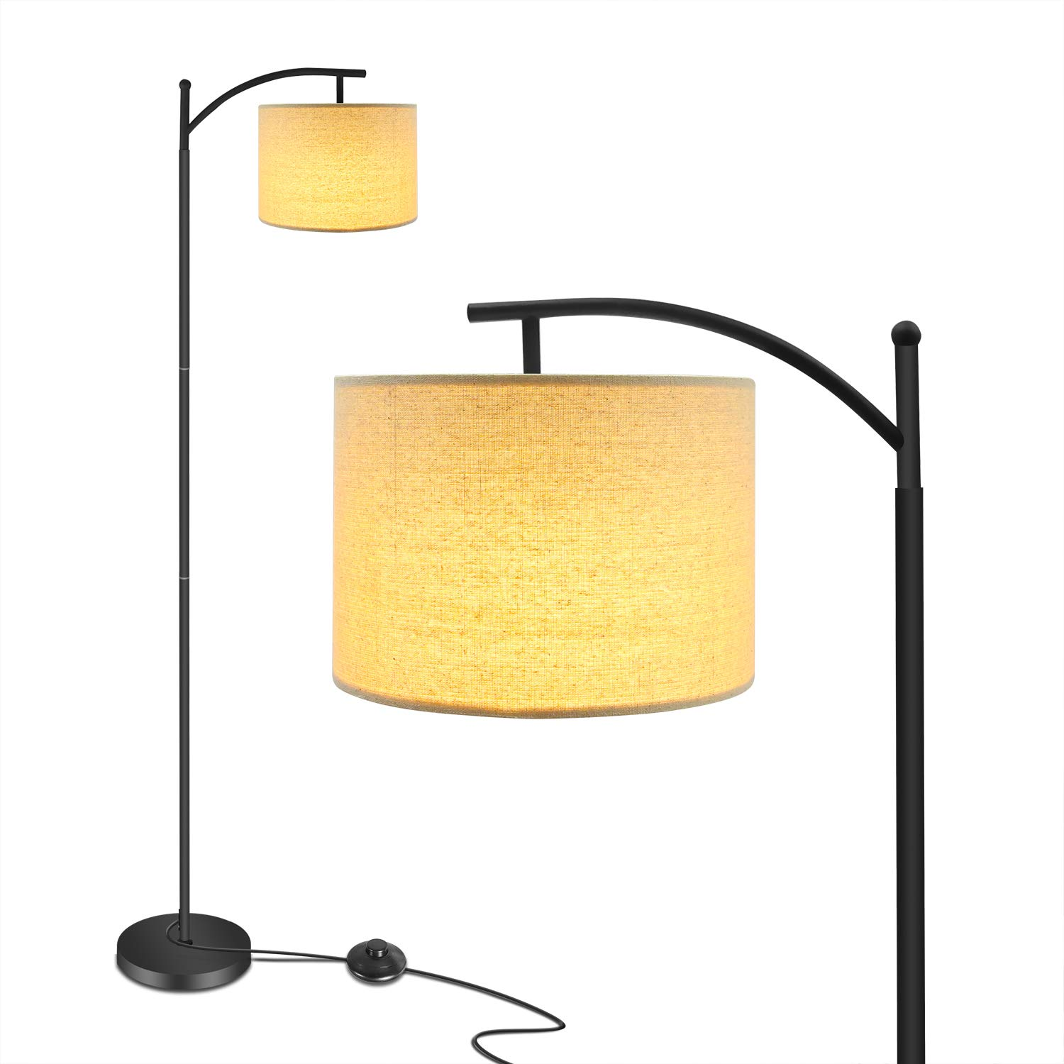 Floor Lamp, Ambimall Modern LED Floor Lamp for Living Room Standing Arc Pole Light with Hanging Lamp Shade Minimalist Bedside Floor Lamp for Bedroom (Black)