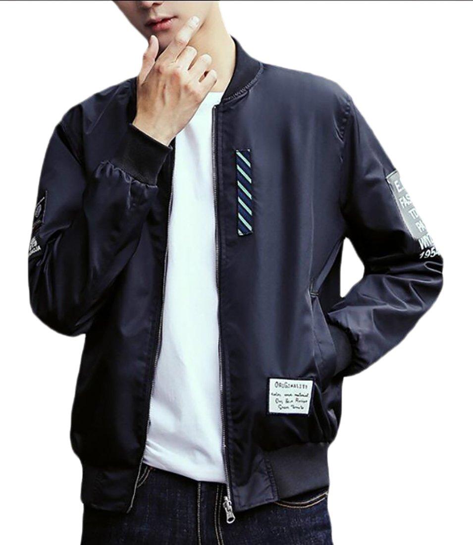Beloved Men Long-Sleeved Full Zipper Casual Loose Varsity Jackets Black XS
