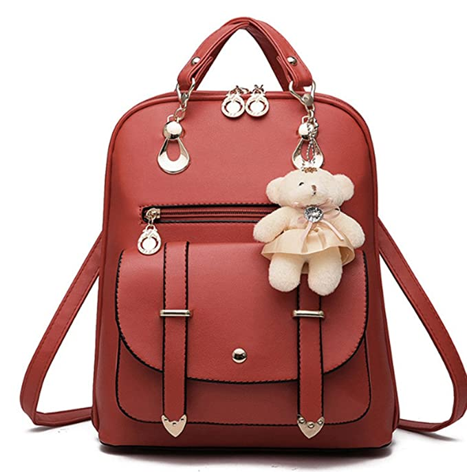 Women Girl Fashion Synthetic Leather School Shoulder Bag Backpack Travel  Rucksack (Wine red) e1624393e35f2