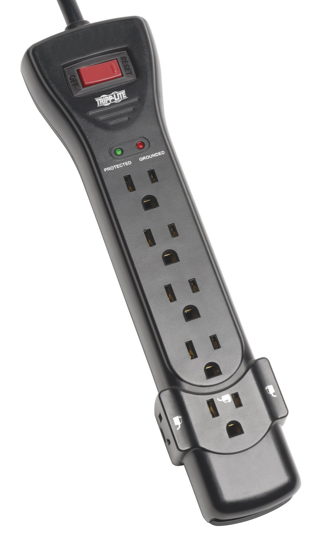 Tripp Lite 7 Outlet Surge Protector Power Strip, 7ft Cord, Right Angle Plug, 2160 Joules, Black, $75,000 INSURANCE (SUPER7B) by Tripp Lite