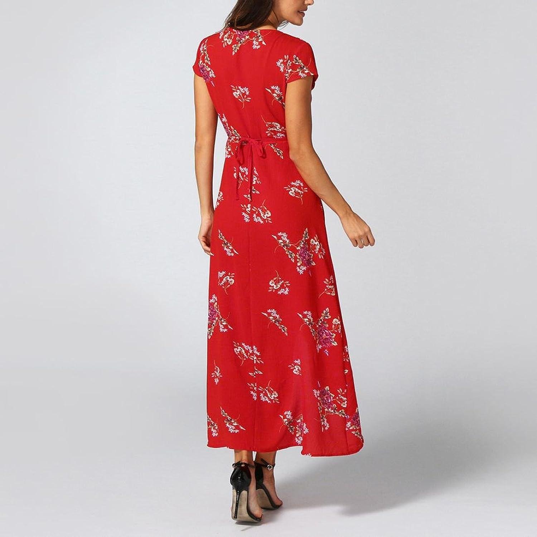 ☀️Frauen Blumen Boho langes Kleid VENMO Beach Sommer Elegant ...