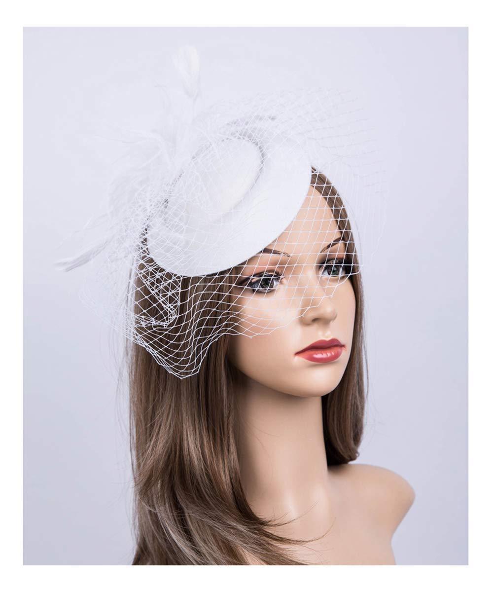 Fascinators Hats 20s 50s Hat Pillbox Hat Cocktail Tea Party Headwear Veil Girls Women(B-White)