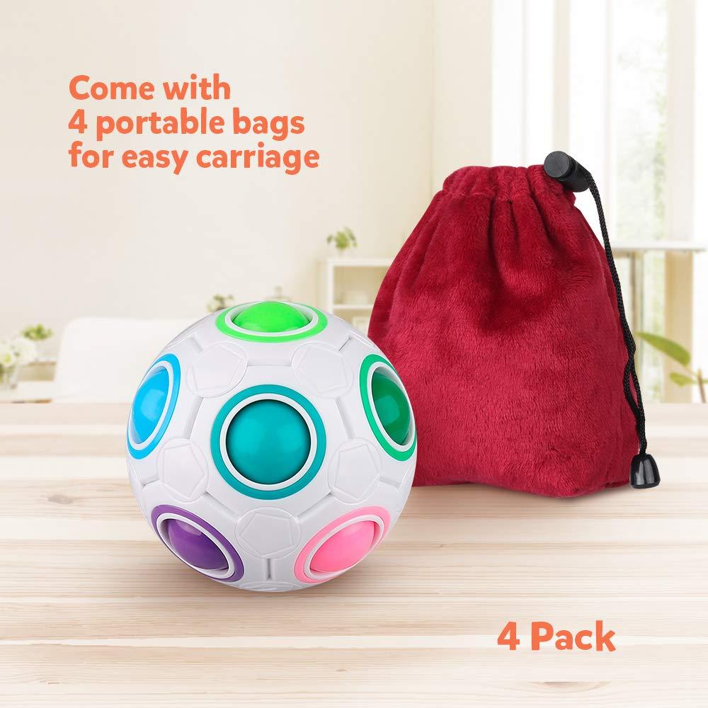 D-FantiX Rainbow Puzzle Ball 4 Pack, Magic Rainbow Ball Puzzle Cube Fidget Balls Puzzle Brain Games Fidget Toys for Adult Kids White by D-FantiX (Image #4)