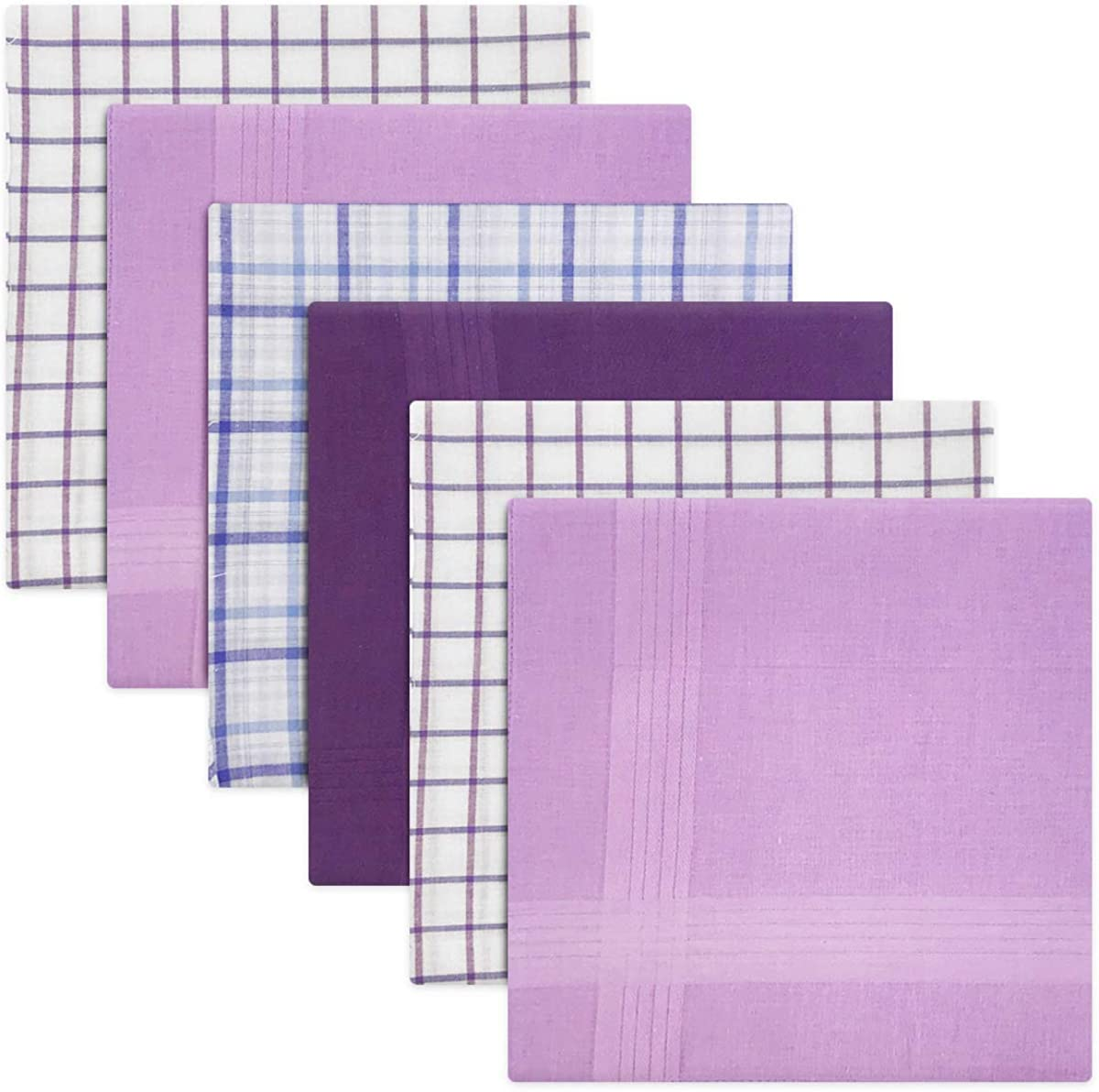 Blue Or Purple With Satin Stripe Borders 100/% Cotton Pack Of 6 Mens//Gentlemens Check /& Dyed Handkerchiefs 40 x 40cm