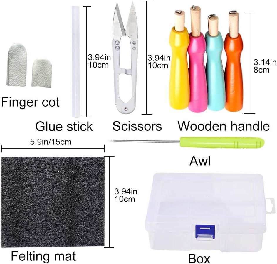 2Pcs Wooden Handle for Felting Needles Pin Tools Of Felt Of Wool Pins H2