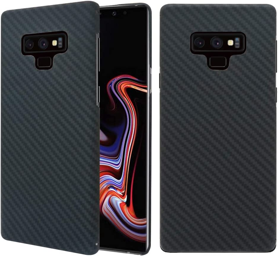 MIGOOZI Galaxy Note 9 Case, 0.7mm Ultra Thin Real Aramid Fiber [Real Body Armor Material] Carbon Fiber Pattern Protective Case Cover for Samsung Galaxy Note 9 2018 Release