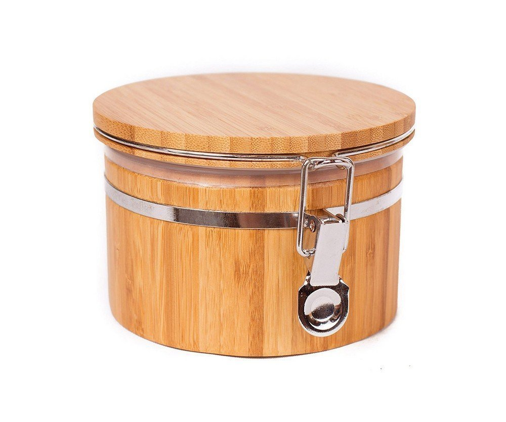JapanBargain S-4092, Bamboo Food Coffee Canister Jar with Lid 5.3x3.5-inch, Small