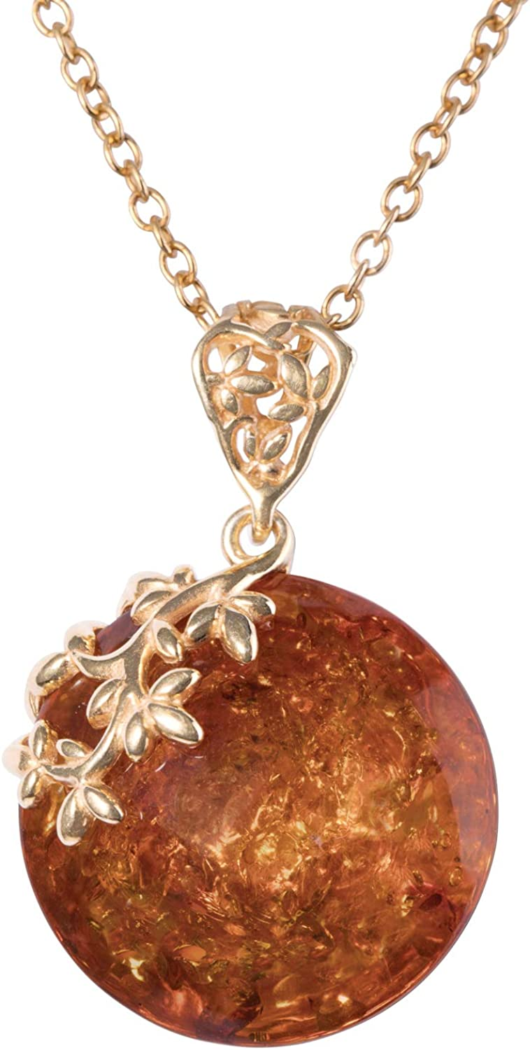 Vintage Multi Type Amber Sterling Silver Necklace Pendant