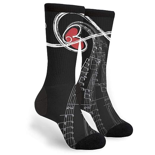 Amazon com: Unisex Fun Novelty Crazy Crew Socks Music Symbols Love