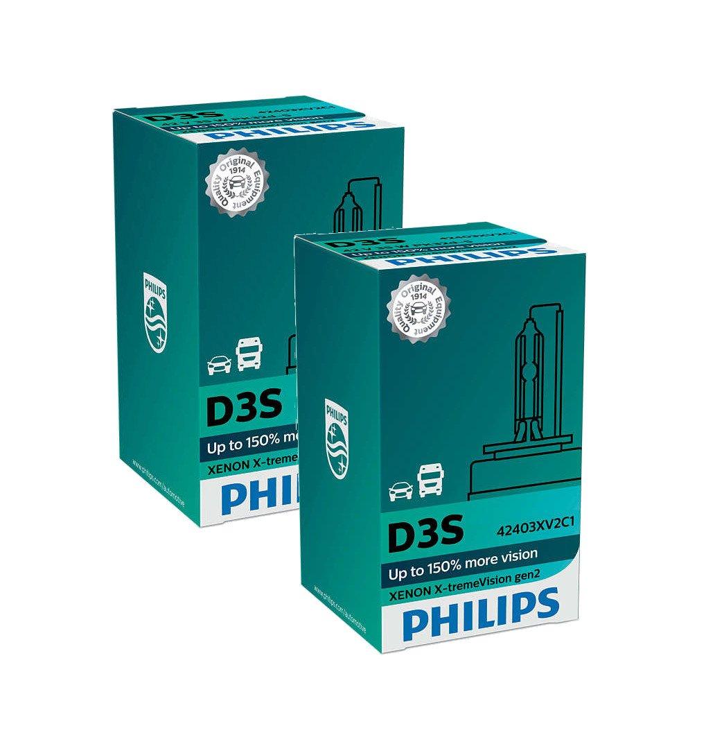 PHILIPS Xenon X-TremeVision Gen2 +150% D3S HID Xenon Bulbs Set Of Two 42403XV2C1