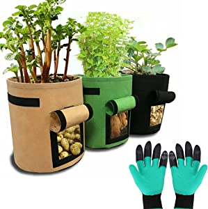 ZIMFANQI 3 Pack 10 Gallon Grow Bags ThickenedNon-Woven Aeration Fabric Pots Portable Planting Container with Garden Gloves for Potato Strawberry Plants Vegetables
