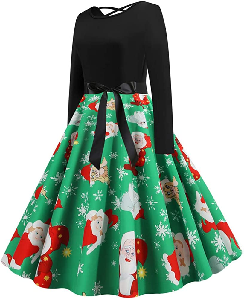 Qingsiy Vestido Vintage de Navidad de los años 50 Falda Cruzada ...