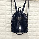 High Quality Women Backpacks Lady Girls Travel Blosas Women Bags Washed PU Leather Backpacks Rivet Backpacks Student School Bag Hot (Black Color)