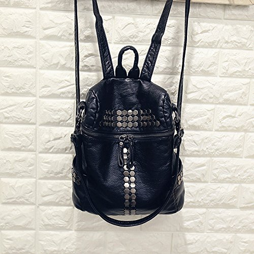 High Quality Women Backpacks Lady Girls Travel Blosas Women Bags Washed PU Leather Backpacks Rivet Backpacks Student School Bag Hot (Black - Bag Shopping Laurent Saint