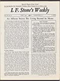 I F STONE'S WEEKLY Vol XII #19 Fedayeen Israel Nuclear Arms Race 6/1 1964