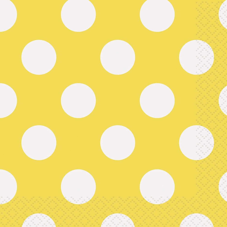 Yellow Polka Dot Beverage Napkins, 16ct