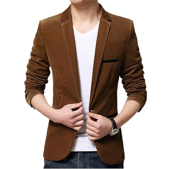 Dihope Homme Printemps Automne Costume Fashion Blazer Veste Slim Tailleur  OL Jacket Manches Longues Coat Formel af152af32079