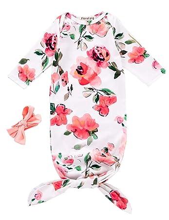 Amazon.com: Bebé recién nacido Dormir Floral Gown Diadema ...