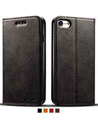 IPhone 6 Leather Wallet Cell Phone Card Holder Case Kickstand Flip Cover, Black