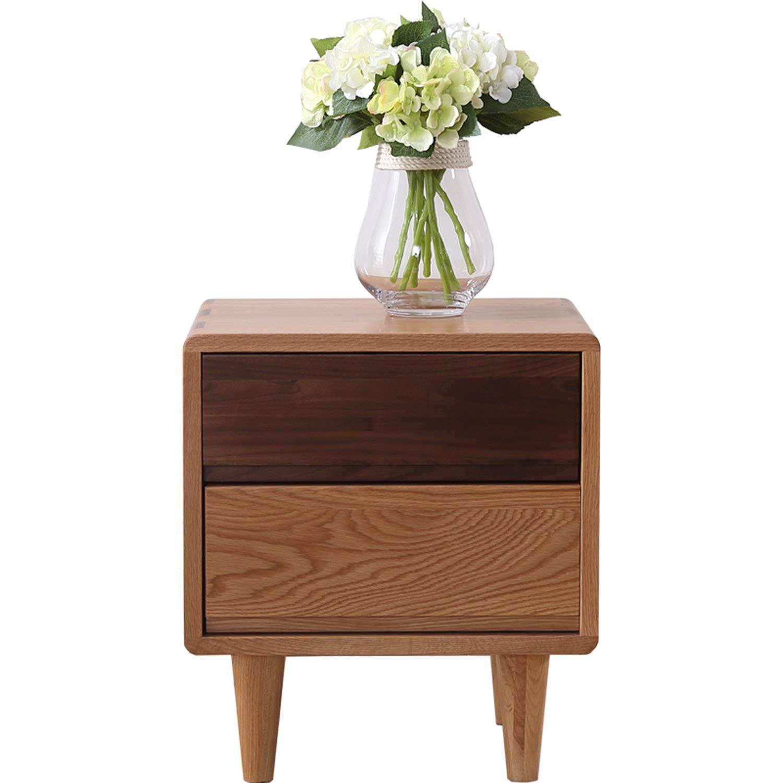 2つの引出し、大容量、寝室用ホワイトオークナイトテーブルを備えたヴィンテージの木製のベッドサイドテーブル B07PK3QHXW