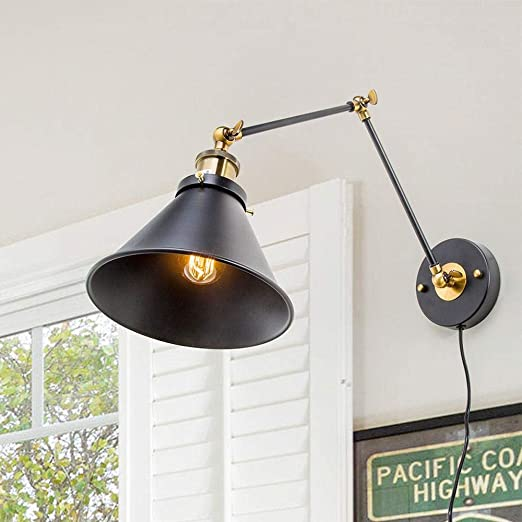 Lnc Wall Sconces Swing Arm Plug In Or Hardwire Lamp A02246 Antique Brass And Black Matte Finish