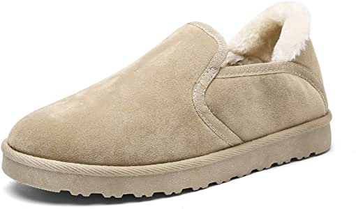 AMAZACER Men's Ankle Snow Boots Simulated Fleece Inner Rubber Outsole Leisure Slip-On Home Shoes (Color : Black, Size : 8 UK) (Color : Khaki, Size : 8 UK)