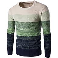 Granfee Men's Casual Stripe Pullover Cotton Crew Neck Sweater Assorted Color Knitwear