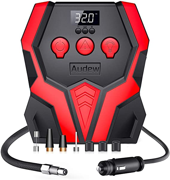 Audew Digital Tire Inflator with Auto shut-off,12V 150PSI Portable Air Compressor,Air Pump for Car Tires,Motorcycle,Bicycle and Other Inflatables
