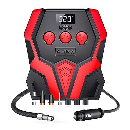 Audew Compresor de Aire Portátil Mini Bomba de Aire Eléctrico 12V 150PSI con Pantalla Digital y Linterna LED para Coche, Bicicleta, Moto y Otros ...