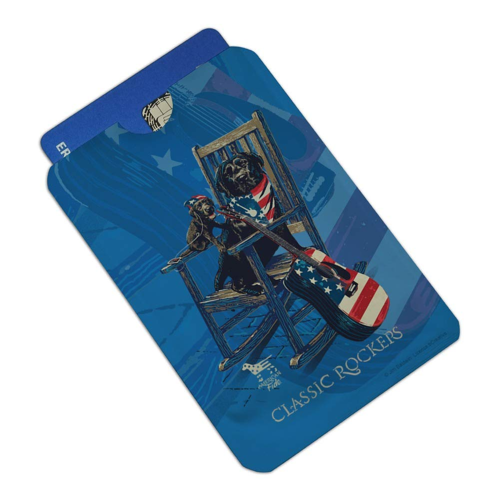 Classic Rockers Dogs Rocking Chair USA Flag Credit Card RFID Blocker Holder Protector Wallet Purse Sleeves Set of 4