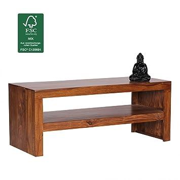 FineBuy Couchtisch Massiv Holz Sheesham 110 Cm Breit Wohnzimmer Tisch Design Dunkel Braun