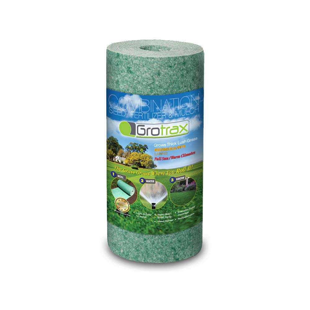 Grotrax   Quick Fix Roll   All-in-One Bermuda/Rye Grass Seed Mat Roll   Great for Lawn Spots, High Traffic Areas and Lawn Repairs   Ideal for Hot and Drought Conditions   As Seen On TV   50 SQFT