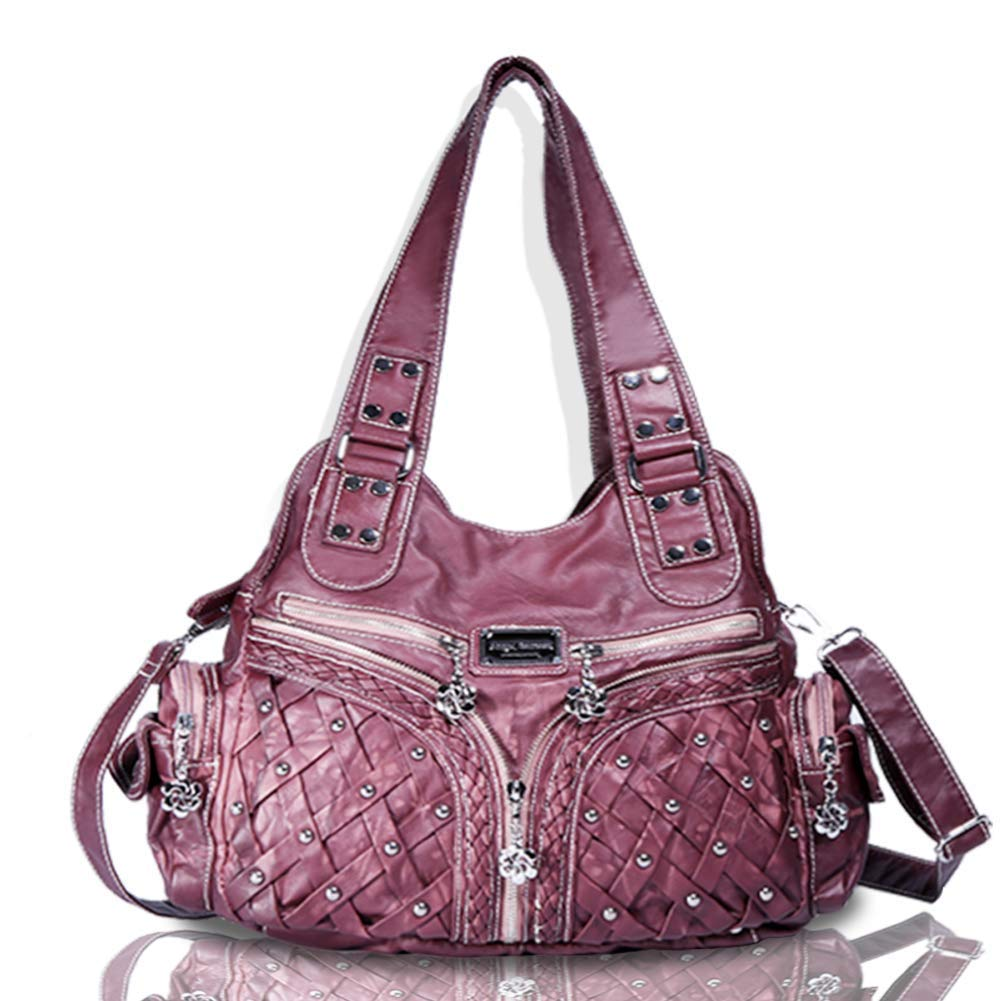 Angel Barcelo Roomy Fashion Hobo Womens Handbags Ladies Purse Satchel Shoulder Bags Tote Washed Leather Bag Red Mahogany
