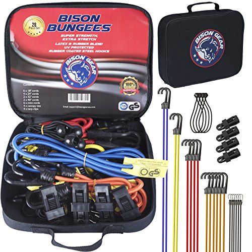 Bison Gear 28PC Premium Bungee Cord Assortment Including Ball Bungees and Tarp Clips - 28 Piece Heavy Duty Tie Down Pack - UV Resistant Industrial Grade Shock Cord - GS Certified Bungee Straps (Shock Pack)