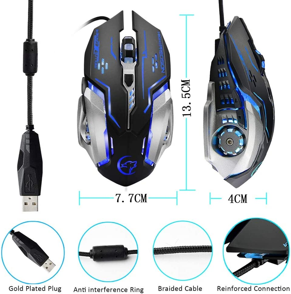 HJL Optical Gaming Mouse Wired Gaming Mouse for Computer Ergonomic Design Antimagnetic Wire Smart Connection Plug and Play Colorful Breathing Light
