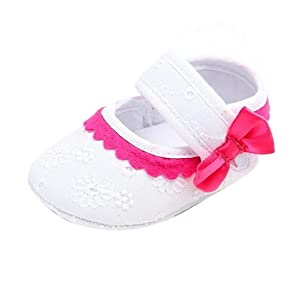 Fheaven Baby Infant Kids Girl Soft Sole Crib Toddler Newborn Shoes with Bowknot (US:3, White)
