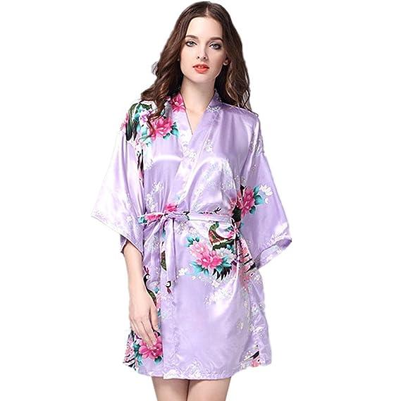 Kenmont Mujer Albornoces Lencería Kimono Flores Satén Pijamas Floral Camisón Bata Corto Ropa De Dormir (M, White): Amazon.es: Juguetes y juegos