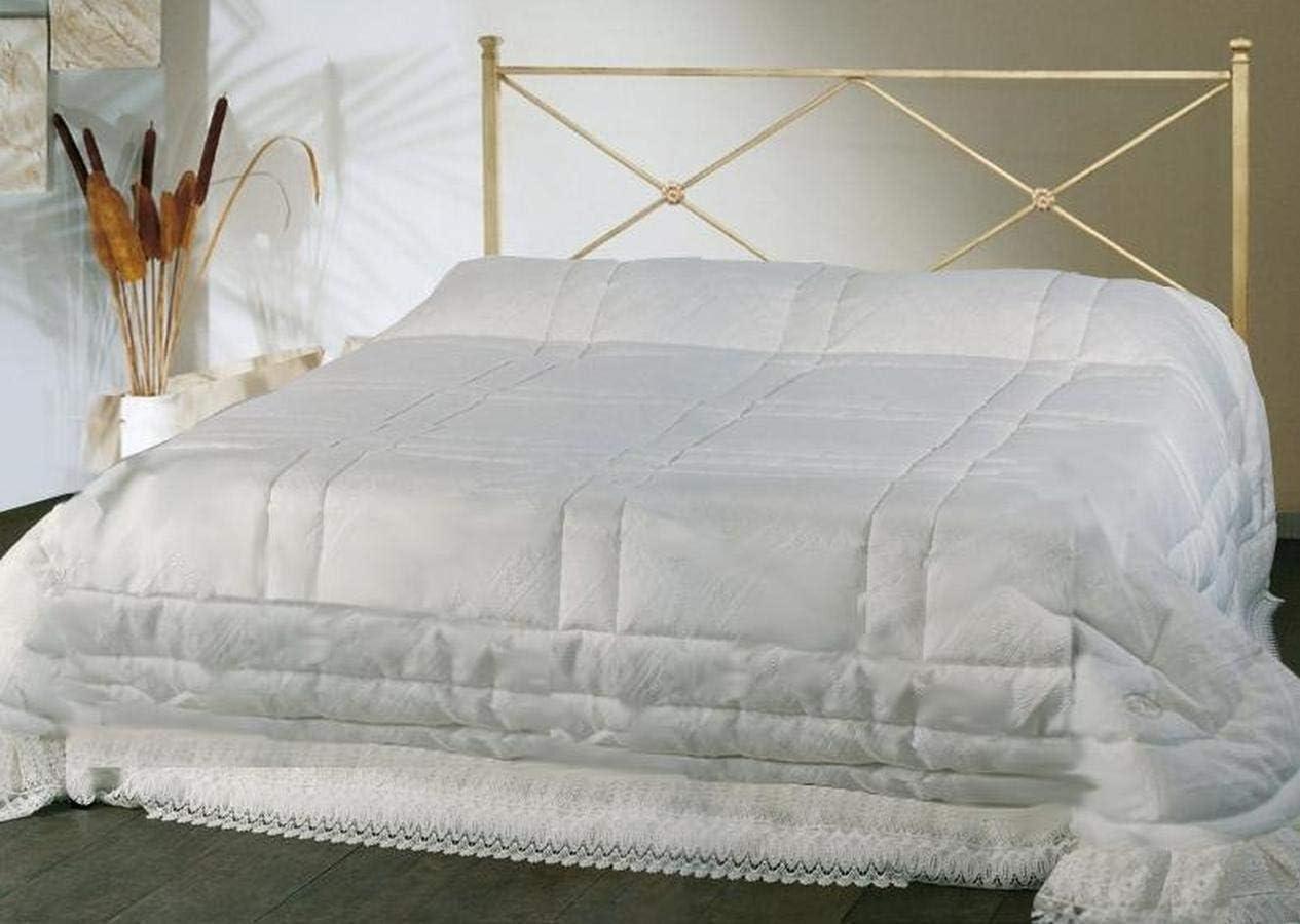 ARREDinITALY Cama de Matrimonio de Hierro Color Marfil con enrollador Preparado para somier con Patas 160 x 190 cm. Producto Fabricado en Italia.
