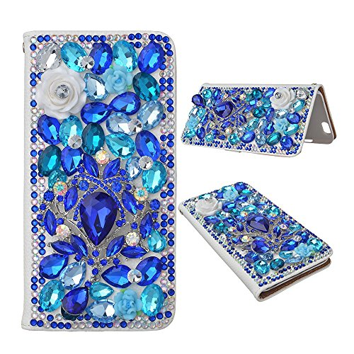 Spritech(TM) For Samsung Galaxy S7 Edge,PU Leather Wallet Phone Case 3D Handmade Shining Blue Crystal Design Flower Butterfly Decorated Sim Folding Protected Smartphone Cover with Card Slots (Russet Olive)