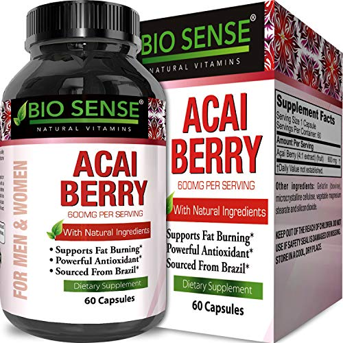 Pure Acai Berry Pills – 600mg Premium Concentrate Pills for Weight Loss – Fat Burner Pills – 100% Natural Potent Acai Berry Diet Supplement Capsules – Antioxidant Cleanse + Detox ()