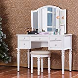 Merax Vanity Table Set with Mirror and Stool Make-up Dressing Table