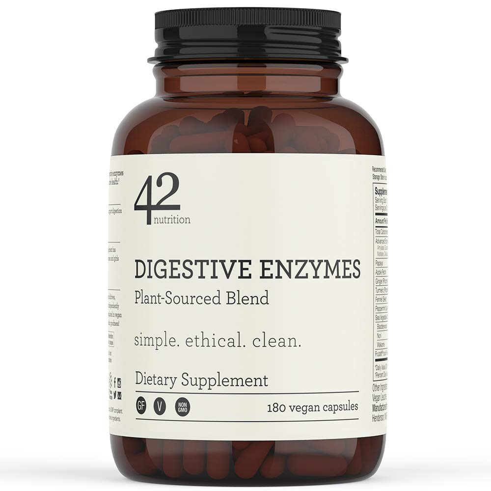 42Nutrition Digestive Enzymes Dietary Supplement - 180 Plant-Based Blend Capsules with Inulin Prebiotics for Healthy Digestion and Nutrient Absorption - Supports Gut and Daily Digestive Health by 42Nutrition