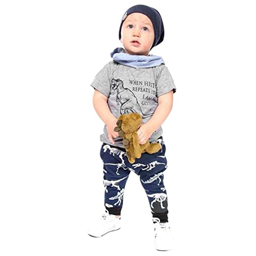 cf434cd85 Amazon.com  Toddler Baby Cute Dinosaur Print Clothes 2PCS Set Size ...